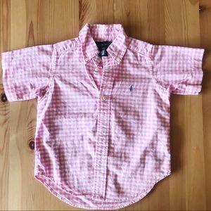 Pink Gingham Polo Button Down 3T